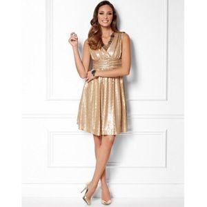 NWOT Eva Mendez Gold Sequin Lisa Dress